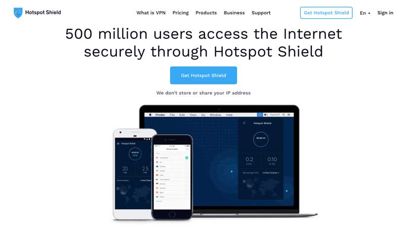 access the internet securely through Hotspot shield VPN