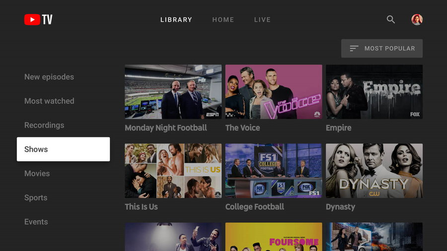 youtube TV shows